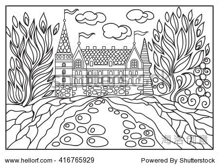 幻想的风景.童话城堡,公园树木.手绘草图.专辑封面