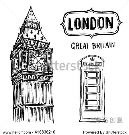 手绘伦敦大本钟