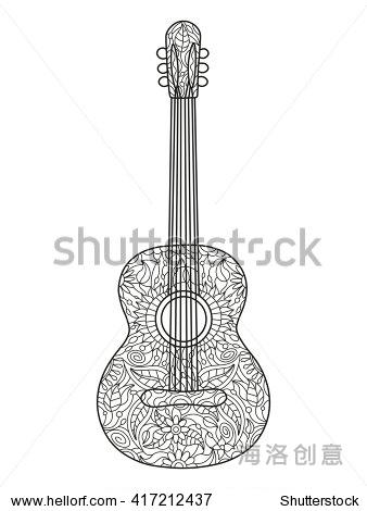 木吉他彩色书为成人矢量插图.黑色和白色的线