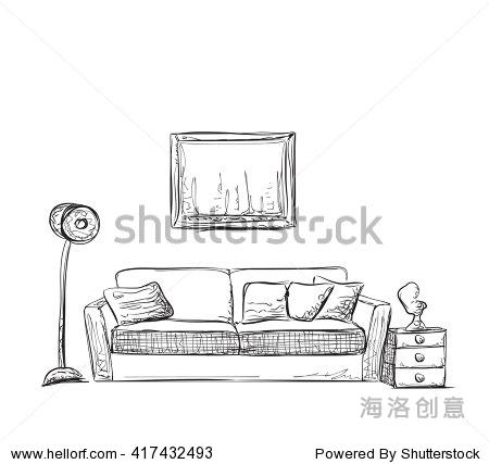 手绘沙发和家具.