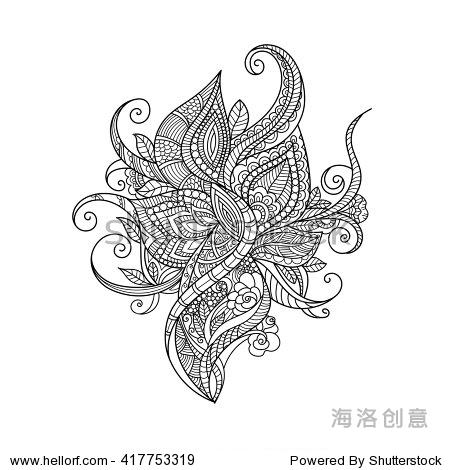涂鸦艺术的花朵.手绘设计元素.zentangle花卉图案.