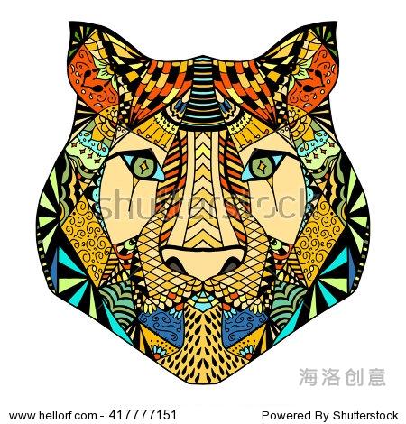 手绘老虎图腾彩色
