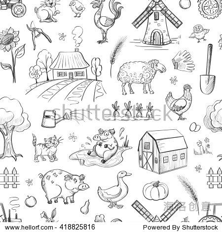 向量卡通图纸对农业的集合.建筑,动物,工具和农作物.无缝模式