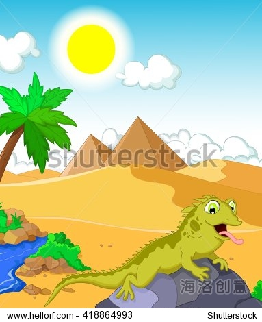 与沙漠蜥蜴卡通和金字塔背景-动物/野生生物,自然-,,.