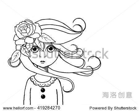 大眼睛的女孩在她的头发