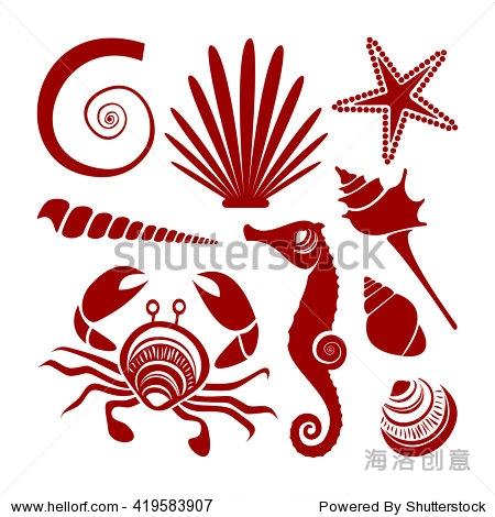 向量贝壳,海马,螃蟹和海星.海洋动物剪影孤立在白色背景