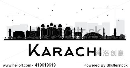 卡拉奇城市天际线黑白剪影.
