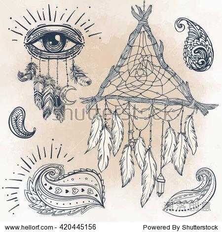 素 矢量插图 纹身模板 手绘部落符号集合 嬉皮的设计元素 追梦人 成年图片