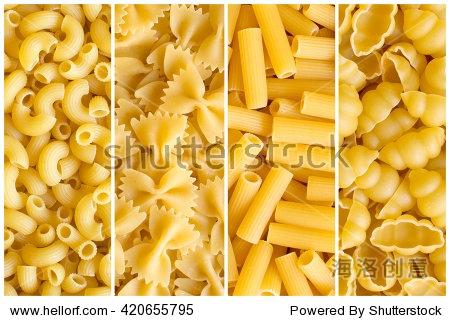 拼贴画各种原始的黄色面背景 Rigati 蝴蝶结面肋状通心粉,汤圆 背景