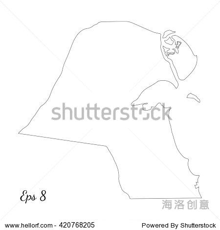 矢量地图科威特.略图.孤立的矢量图.黑白色背景.eps 8