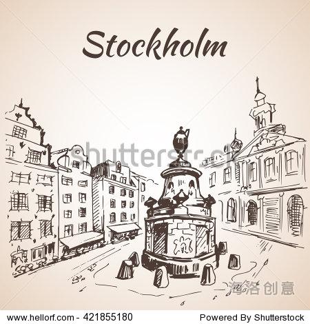 股票向量场景街道手绘插图墨线图-欧洲古城斯德哥尔摩