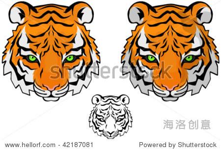 小老虎头矢量图,彩色和黑白版本