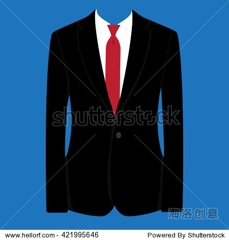 矢量图的黑人西装红领带和白衬衫蓝色背景.西装,商业犯罪,人西装
