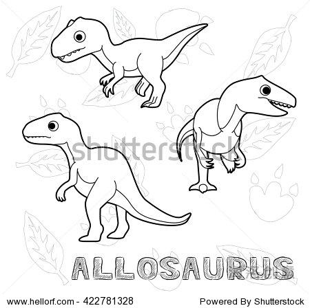 恐龙异特龙卡通矢量插图单色