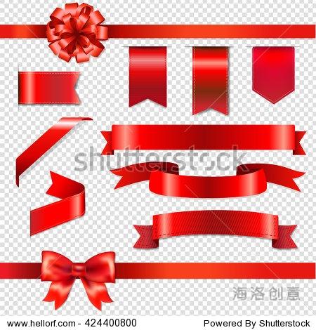 红色蝴蝶结丝带,孤立在透明背景,渐变网格,矢量图