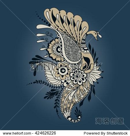 孔雀在手绘风格.向量模板纹身.