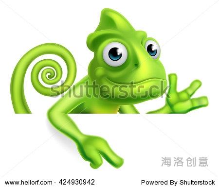 绿色卡通变色龙蜥蜴字符吉祥物指向一个标志-动物/,-.