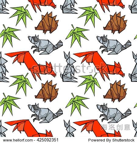 折纸.森林的动物:狐狸,浣熊,兔子,刺猬.叶子.无缝的矢量模式(背景).
