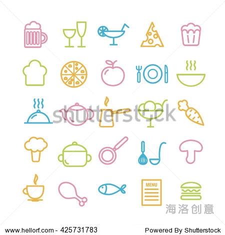 25食品线性图标的集合.厨房和餐厅薄图标