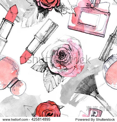 Perfume with lipstick and makeup brush seamless pattern. Fragrance bottles with rose flowers background. Watercolor drawn perfumery and cosmetics fashion illustration. Vintage design for beauty card.
