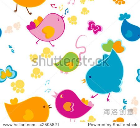 可爱的动物图案-背景/素材