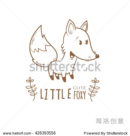 卡片,可爱的卡通狐狸.有趣的动物.儿童插图.向量轮廓图像.彩色的书.
