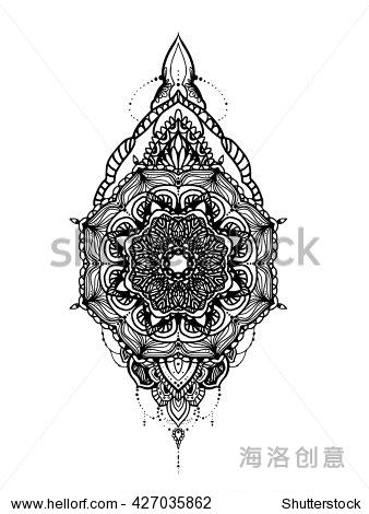 曼荼罗纹身模板设计