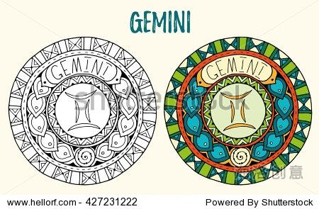hand drawn mandala zodiac for tattoo art printed media design图片