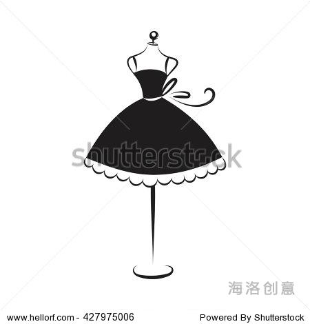 舞会礼服短人体模特手绘插图在白色的背景