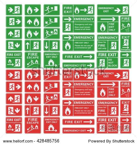 紧急出口标志矢量集.紧急出口,紧急出口,消防大会点,疏散通道,灭火器.