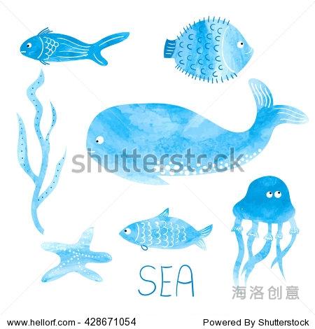 水彩海洋动物.可爱的手绘鲸鱼,鱼,水母.