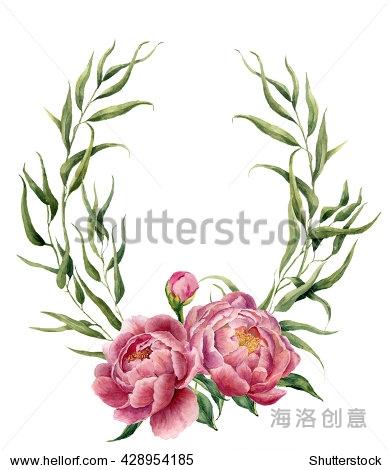 水彩花环和桉树叶,牡丹和树叶.手绘花卉边境树枝,树叶