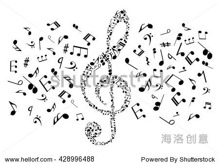 流动的音符排列成高音谱号象征着音乐和艺术概念设计与黑色剪影的笔记