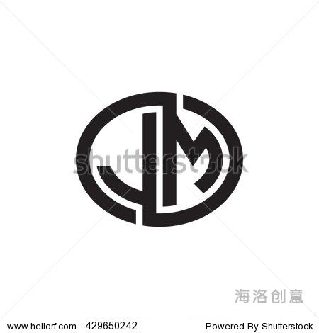 jm initial letters looping linked ellipse monogram logo图片