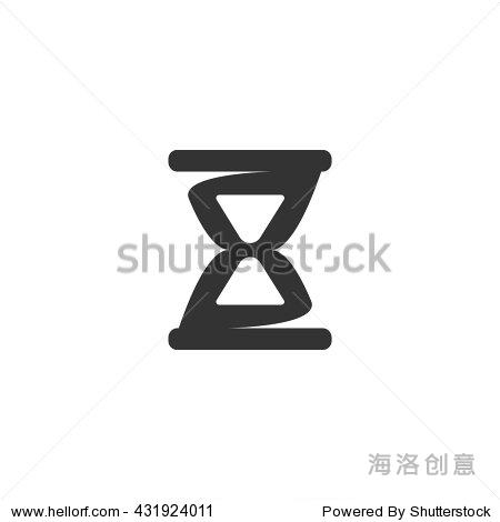 沙漏标志设计向量模板.简单的图标标识的概念.