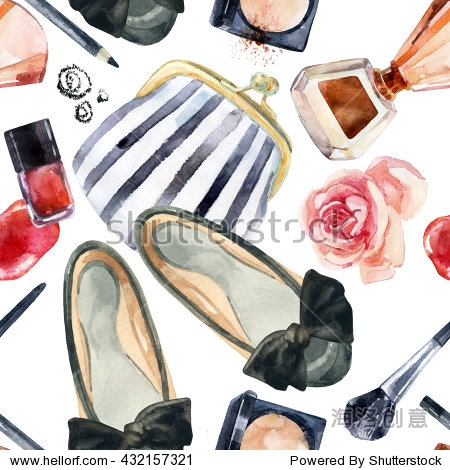 Watercolor women's beauty seamless pattern. Fashion chic beauty background. Cosmetics and clothes background. Hand painted illustration for girlie design.