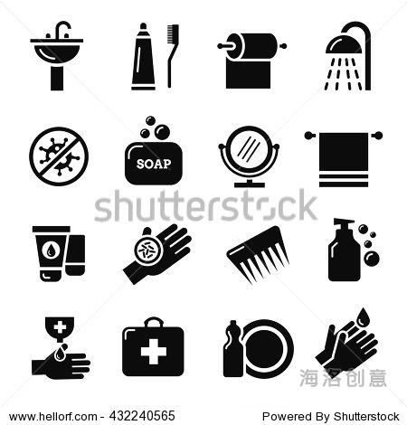卫生,细菌病毒防护矢量图标.保健和医疗卫生.保护和卫生图标设置说明