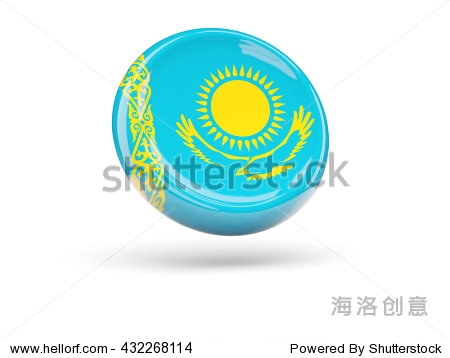 国旗的哈萨克斯坦,圆形的图标.三维演示-符号/标志