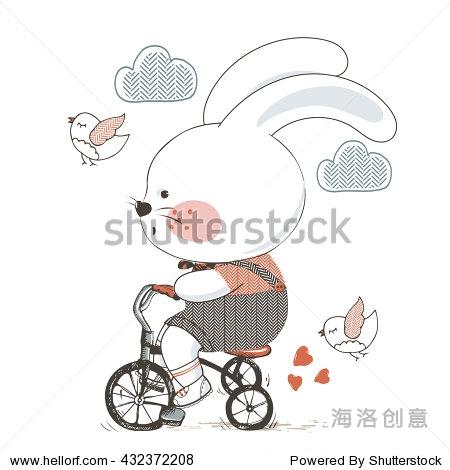 兔子/矢量手绘插图的可爱兔子骑自行车