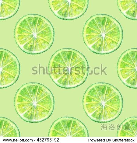 水果图片.水彩手绘插图.绿色背景