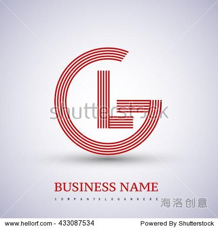 letter gl linked logo design circle g shape.