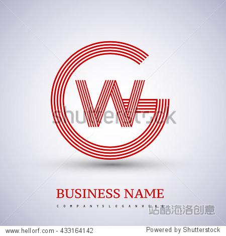 letter gw or wg linked logo design circle g shape图片