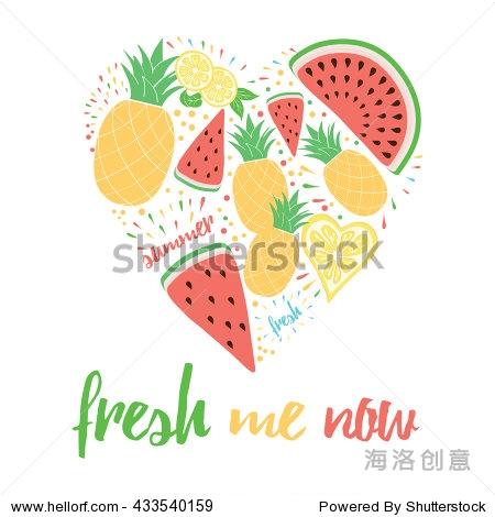手绘字体颜色卡片,文本的新鲜我装饰水果心形.积极的夏天激发报价.