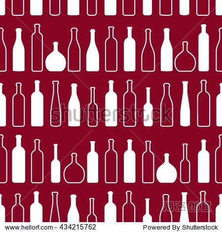 酒瓶大纲模式.瓶子的剪影.不同种类的葡萄酒.设计元素