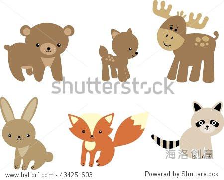 婴儿森林动物-艺术-海洛创意正版图片,视频,音乐素材