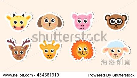 可爱的动物宝宝头贴纸矢量插图