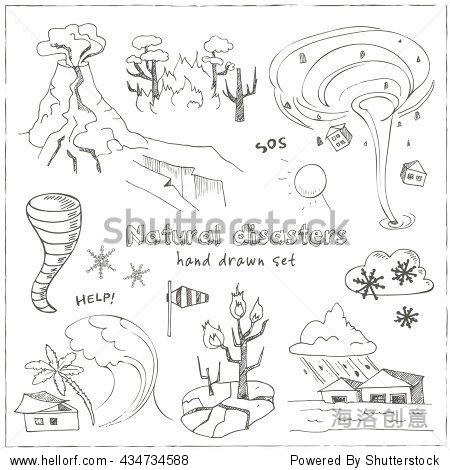 的涂鸦素描自然灾害地震海啸火山龙卷风和其他灾难.孤立的矢量图