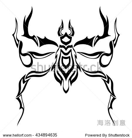 线的艺术.黑白手绘.涂鸦艺术插图.装饰.程式化的.纹身.