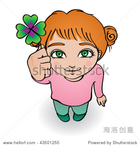 vector illustration of a cute girl wishing you good luck with a