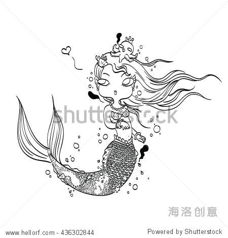 矢量图的一个可爱的美人鱼海底手绘,涂鸦着色的卡通人物